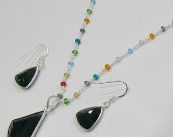 Sterling Silver Pendant Set with multi Beaded chain/ Fancy Shape Stone / Size20x38mm including Bail /Hydro Quartz Stone Jewelry