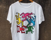 KEITH HARING BigBang G Dance Neon Bark Artwork Artist Pop Art Street Graffiti Streetwear 90's T shirt Size L