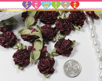 25pcs Mini Burgundy Wine Satin Flowers|Ribbon Fabric Flower Applique|Shabby Chic Baby Doll|Cabbage Rose|Tiny Bow Ribbon Hair Bows Headband