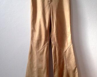 70s Vintage 100% Leather Bootleg Flares