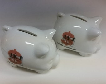 Printed Personalized Porcelain Piggy Banks - Custom with your own logo