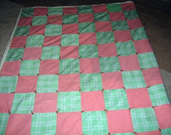 Quilt 42 X 70 Polyester 5.5 x 5.5 Squares Hand Tied  Picked