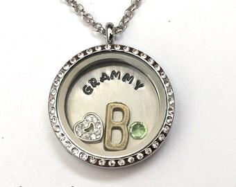 GRAMMY - Custom Floating Charm Locket - Memory Locket - Custom Hand Stamped Gift for Grandma