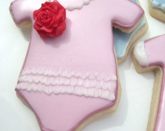 Baby girl onesie cookies