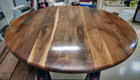 Round Walnut Table Top   Solid Black Walnut Wood // Breakfast, Cafe,  Coffee, Cocktail, Conference, Dining, Kitchen, Pub, Restaurant