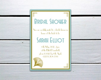 Printable 1920s Great Gatsby Bridal Shower Invitation: Blue and Gold