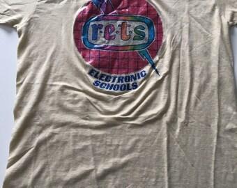 RARE Vintage 70s R•E•T•S Electronic Schools T Shirt