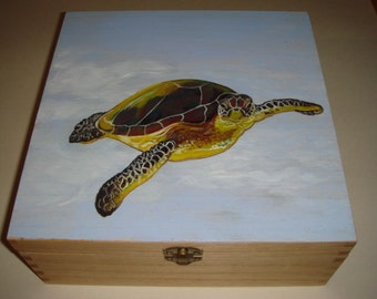 Sea Turtle - hand painted wooden box