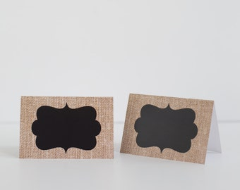 Burlap and Chalkboard Food labels/place cards Set of 5
