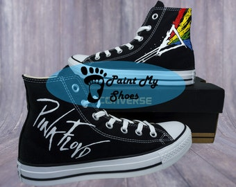 Pink Floyd, converse, Dark side of the moon, hand painted shoes, free shipping in the US