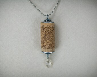 Cork and gemstone necklace