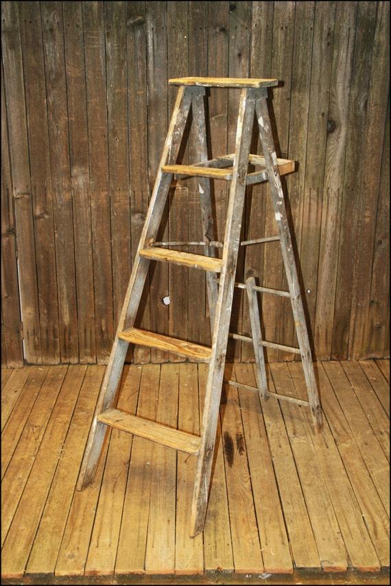 Ladder Decor On Wall : Vtg wood ladder shelf step wall decor by saveamericanhistory