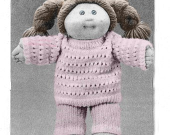"""Knit Pattern for Cabbage Patch Doll - PDF Pattern Download - Sweater & Pants Knitted Outfit for 21"""" Doll - EASY!"""