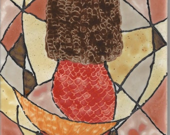Art Deco Mermaid Hand Painted Kiln Fired Decorative Ceramic Wall Art Tile 8x6