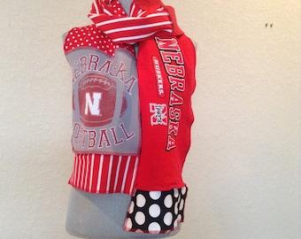 Nebraska Cornhuskers Scarf, Cornhuskers Tshirt scarf, Neb9, Huskers Scarf, spirit scarf, Upcycled Tshirt scarf