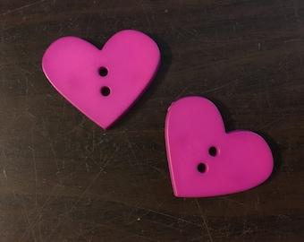 2 Large Heart Buttons: Fuchsia