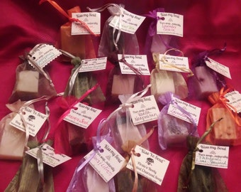 """Soap Sampler: Eight all natural soaps in a 1 oz """"stocking stuffer"""" trial size"""
