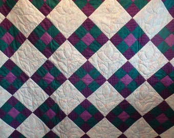 purple quilt, homemade quilt, lap quilt, gifts for women