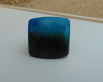 Chunky Resin Ring Rize 9 Blue on Black
