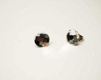 Button Crystal swarovski and stainless steel earrings