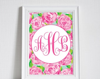 Custom Monogram | Lilly Pulitzer Inspired | Nursery Print | Little Girl Room | First Impression Hotty Pink | Instant Download |