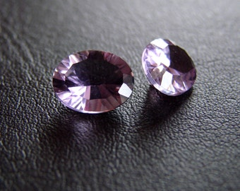 UNIQUE 2pcs Brazilian Amethyst concave cut 9x7 mm / 4ct