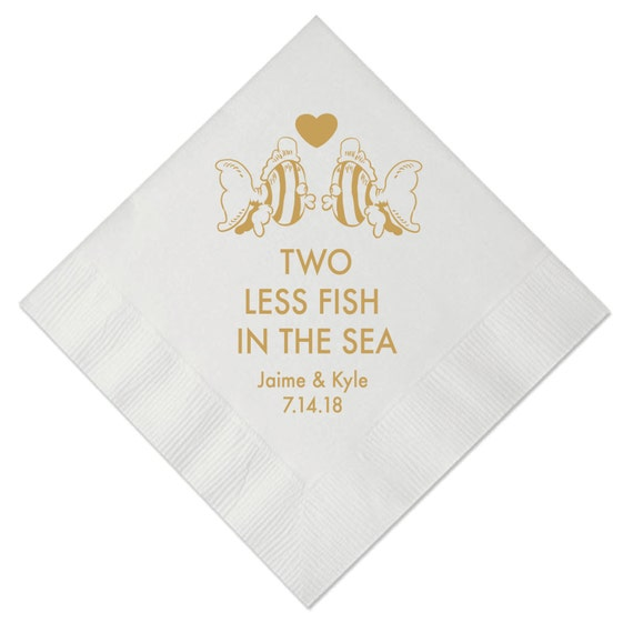 Two less fish in the sea personalized wedding napkins for Two less fish in the sea