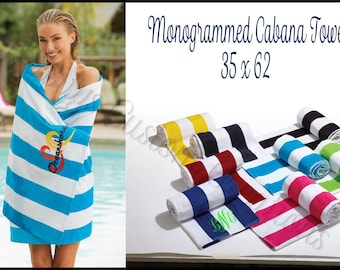Monogrammed Beach Towel, Personalized Beach Towel, Monogrammed Towel, Personalized Towel, Striped Towel, Cabana Towel - TD01