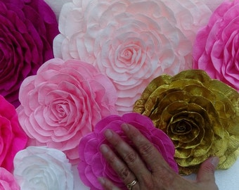 12 large Giant paper flowers Wall Decor backdrop baby kate shower spade bridal purple pink gold white Fuchsia plum Paper arch nursery decor