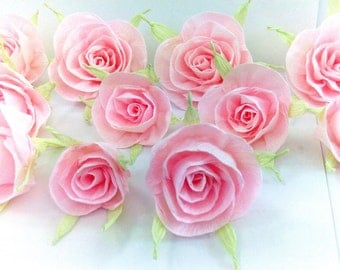 12 paper flowers cake topper crepe pink rose baby shower sweet 16 table decor bridal wedding flowers CENTERPIECE candy buffet bar