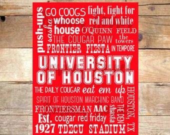 University of Houston Cougars Subway Art- Printable Wall Art