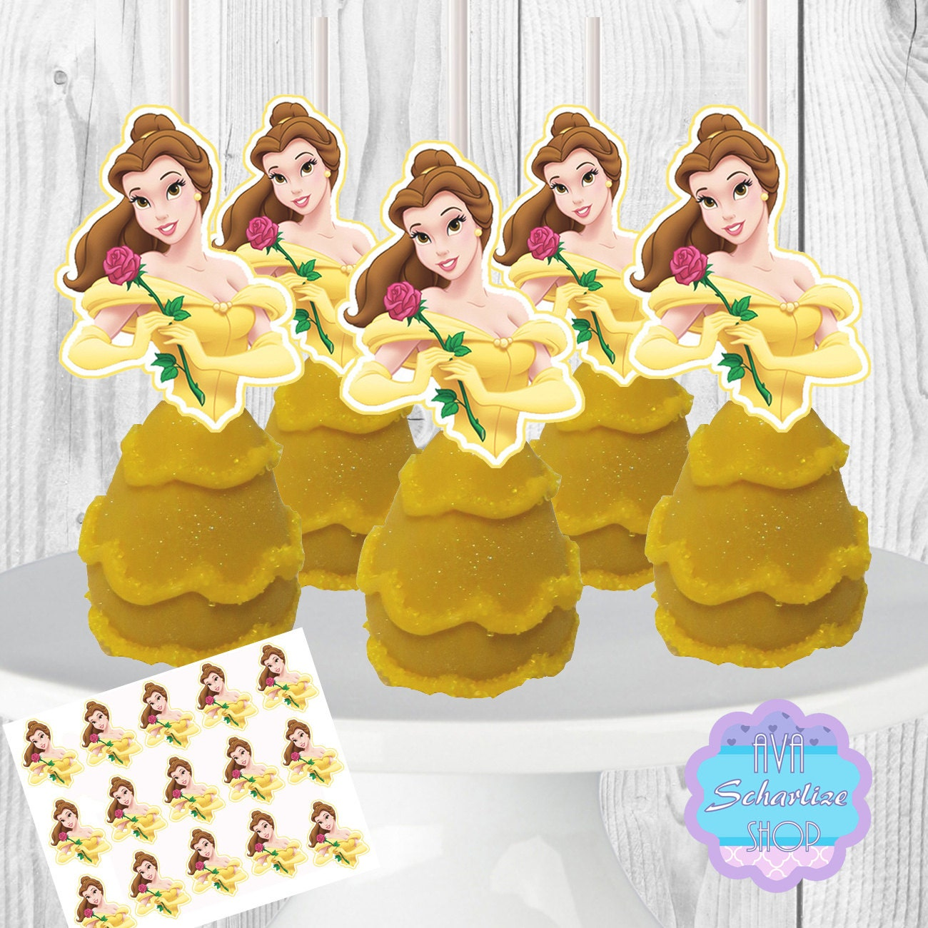 Disney Princess Belle Cake Pop Toppers Cupcake Toppers