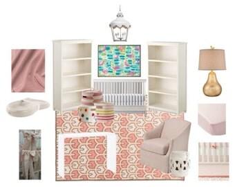Design Board, E-design, Girl Nursery, Pink and White