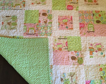 Owl and Woodland Friends Baby Quilt