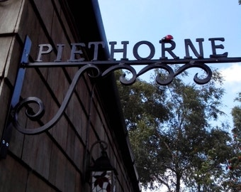 Wrought Iron (Forged Steel) Bespoke Lettered Hanging Bracket+