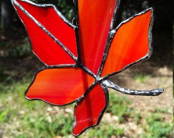 Stained glass autumn leaf. Gift, home, decor, fall, garden, leaf, leaves, suncatcher