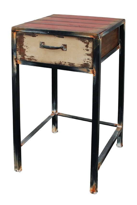 metal and wood nightstand items similar to industrial metal and wood stand on etsy 556