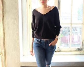 V neck stretch knitted blouse