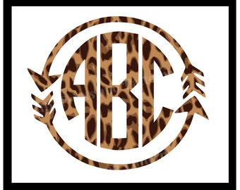 Animal Print Arrow Circle Monogram Decal for cars and Yeti tumblers! Combine your love of monograms and leopard prints in one great decal!