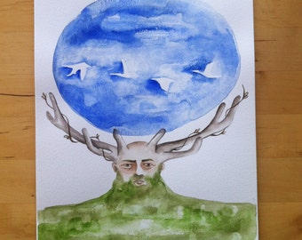 Earth man / Original watercolor