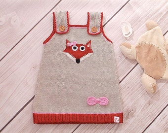 Fox dress, knit dress baby, child