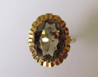 Large 9ct Gold Smokey Quartz Heart Ring