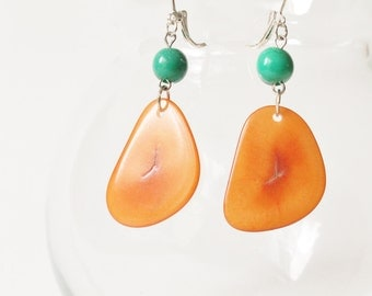 Tagua Earrings, Tagua Jewelry, Boho jewelry, Acai berry earrings, Dangle earrings, Gift for her, Seed earrings, Boho earrings, Ecofriendly