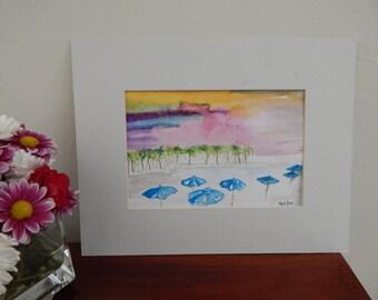 Sunning in Sanibel FL- Watercolor Painting