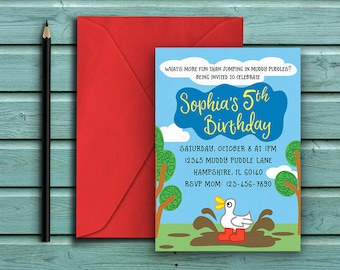 Duck Jumping in Muddy Puddles, Peppa Pig Inspired Theme Birthday Party Invite, Gender Neutral, Birthday Invitation, Printable Invite