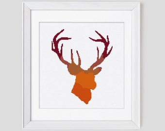 Stag cross stitch pattern, deer counted cross stitch pattern, deer cross stitch pattern, easy to stitch cross stitch pdf pattern