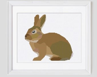 Cross stitch pattern, Rabbit cross stitch pattern, rabbit counted cross stitch pattern, modern cross stitch pattern rabbit, pdf pattern
