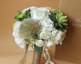 Handmade Natural Wedding real touch Bouquet- Bridal Bridesmaid Bouquet, Rustic Wedding, Alternative Bouquet, Keepsake Bouquet