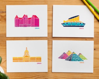 Edmonton Landmarks // Set of 4 Greeting Cards