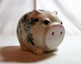 China Piggy Bank, Hand Painted, Made in Japan, Coin Bank, Floral, Savings, Gift